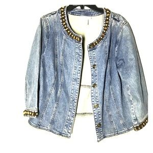 Nine West denim jacket embellished design